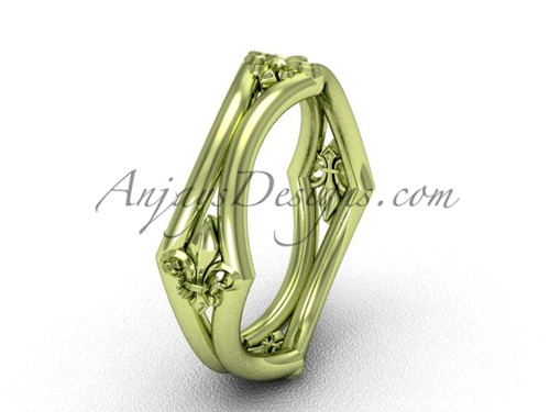 14k Yellow Gold Fleur de Lis Wedding Ring VD10031