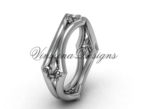 Platinum Fleur de Lis Wedding Ring VD10031