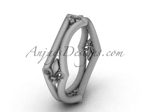 White Matte Finish Gold Fleur de Lis Wedding Ring VD10031