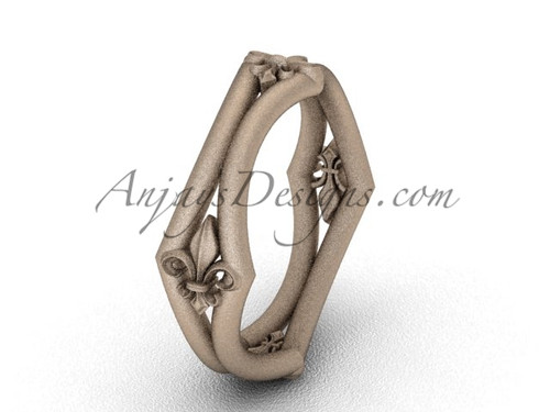Rose Matte Finish Gold Fleur de Lis Wedding Ring VD10031
