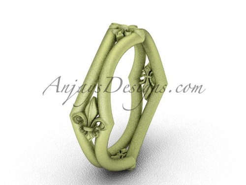 Yellow Matte Finish Gold Fleur de Lis Wedding Ring VD10031
