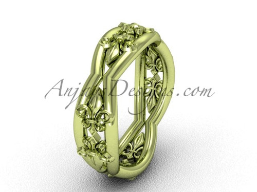 14k yellow gold Fleur de Lis wedding band VD10032