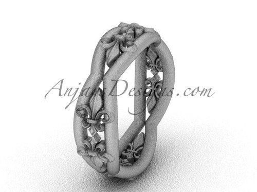 14k white gold Fleur de Lis, matte finish wedding band VD10032
