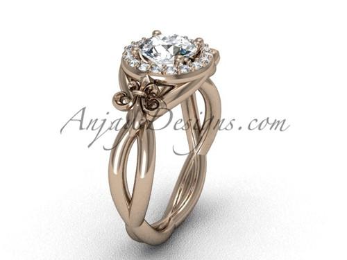 """14kt rose gold diamond Fleur de Lis engagement ring, """"Forever One"""" Moissanite VD10023"""