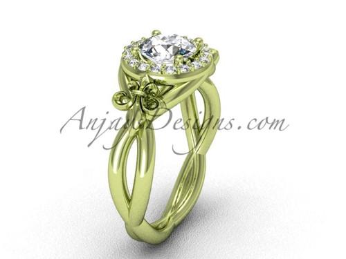 """14kt yellow gold diamond Fleur de Lis engagement ring, """"Forever One"""" Moissanite VD10023"""