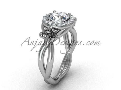 """Platinum diamond Fleur de Lis engagement ring, """"Forever One"""" Moissanite VD10023"""