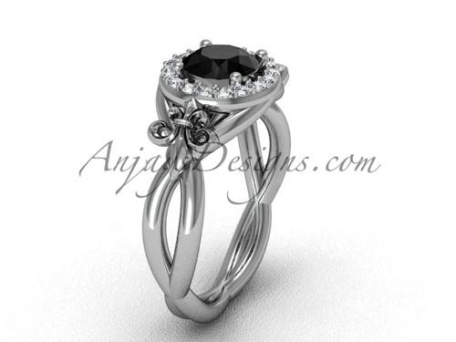 14kt white gold diamond Fleur de Lis engagement ring, Black Diamond VD10023