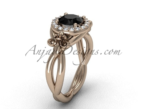 14kt rose  gold diamond Fleur de Lis engagement ring, Black Diamond VD10023