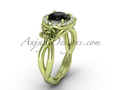 14kt yellow gold diamond Fleur de Lis engagement ring, Black Diamond VD10023