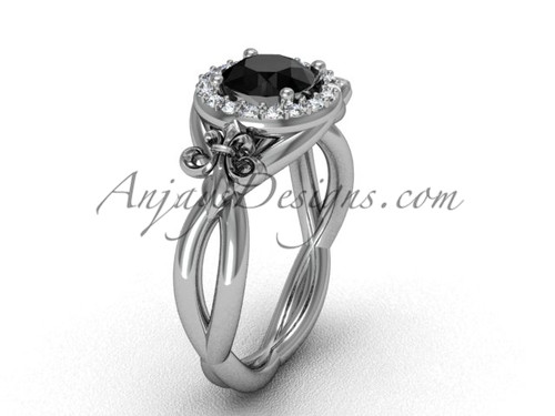 Platinum diamond Fleur de Lis engagement ring, Black Diamond VD10023