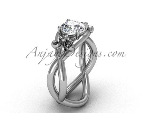 """14kt white gold Fleur de Lis engagement ring, """"Forever One"""" Moissanite VD10024"""
