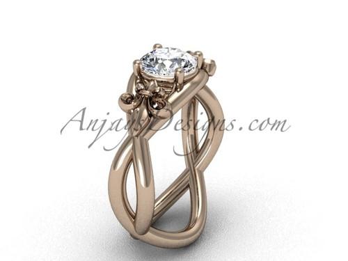 """14kt rose gold Fleur de Lis engagement ring, """"Forever One"""" Moissanite VD10024"""