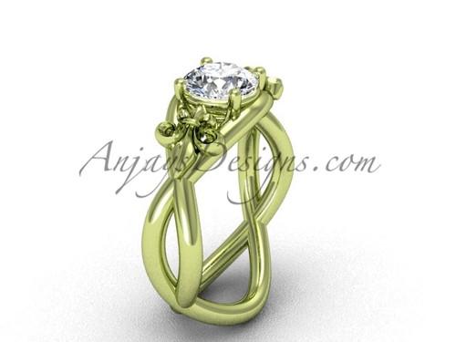 """14kt yellow gold Fleur de Lis engagement ring, """"Forever One"""" Moissanite VD10024"""