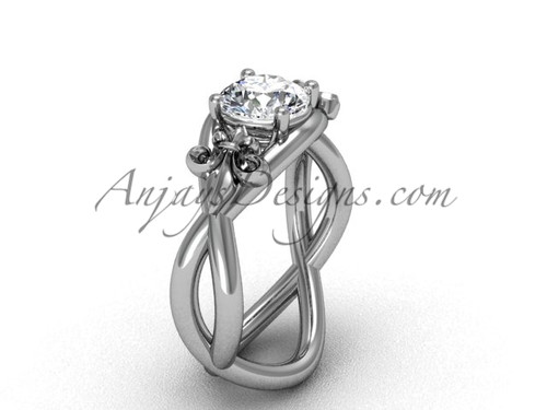 "Platinum Fleur de Lis engagement ring, ""Forever One"" Moissanite VD10024"
