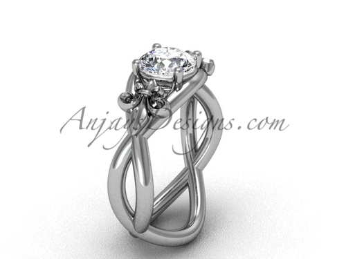 """Platinum Fleur de Lis engagement ring, """"Forever One"""" Moissanite VD10024"""