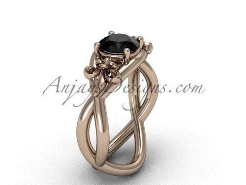 14kt rose gold Fleur de Lis engagement ring, Black Diamond VD10024
