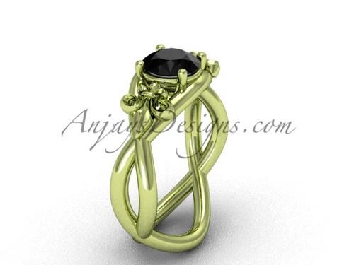14kt yellow gold Fleur de Lis engagement ring, Black Diamond VD10024