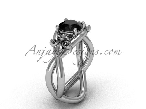 Platinum Fleur de Lis engagement ring, Black Diamond VD10024