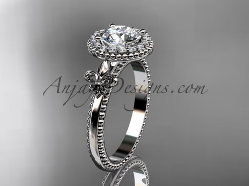 "14kt white gold diamond Fleur de Lis engagement ring, ""Forever One"" Moissanite VD10063"