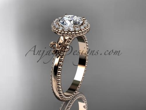 """14kt rose gold diamond Fleur de Lis engagement ring, """"Forever One"""" Moissanite VD10063"""