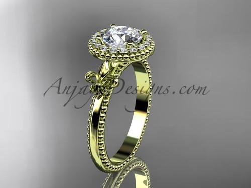 """14kt yellow gold diamond Fleur de Lis engagement ring, """"Forever One"""" Moissanite VD10063"""