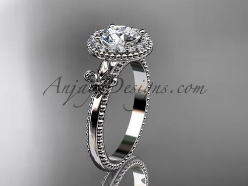 """Platinum diamond Fleur de Lis engagement ring, """"Forever One"""" Moissanite VD10063"""