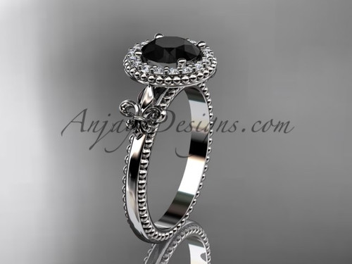 14kt white gold diamond Fleur de Lis engagement ring, Black Diamond VD10063
