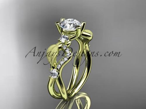 """14kt yellow gold diamond leaf and vine wedding ring, engagement ring with  """"Forever One"""" Moissanite center stone ADLR68"""