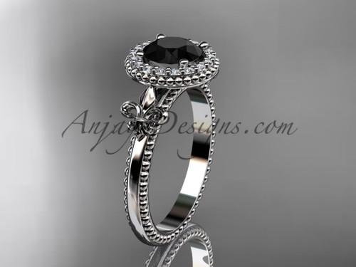 Platinum diamond Fleur de Lis engagement ring, Black Diamond VD10063