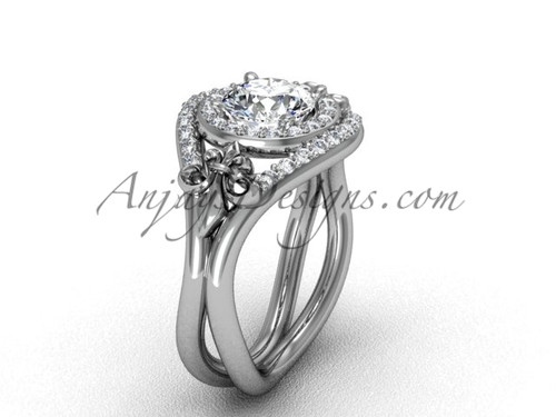 "14kt white gold diamond Fleur de Lis wedding ring, engagement ring, ""Forever One"" Moissanite VD10025"