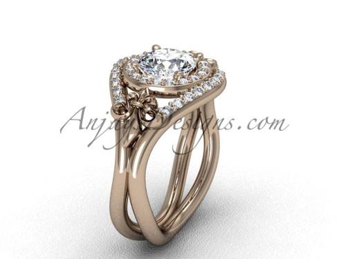 """14kt rose gold diamond Fleur de Lis wedding ring, engagement ring, """"Forever One"""" Moissanite VD10025"""