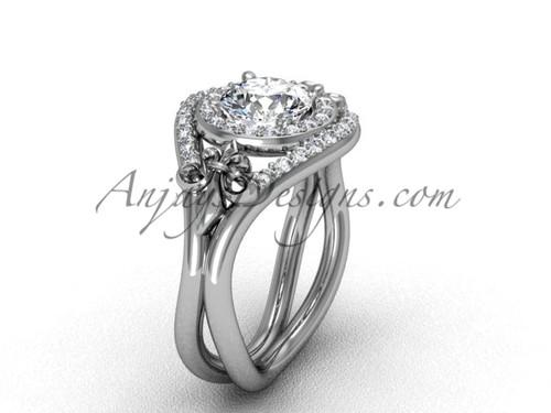 """Platinum diamond Fleur de Lis wedding ring, engagement ring, """"Forever One"""" Moissanite VD10025"""