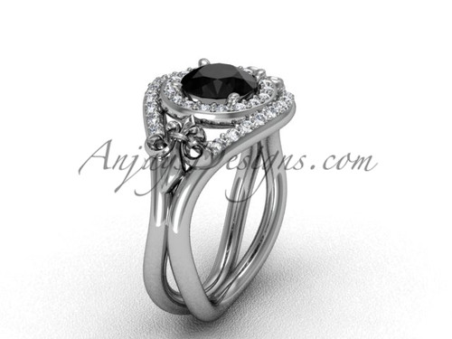14kt white gold diamond Fleur de Lis wedding ring, engagement ring, Black Diamond VD10025