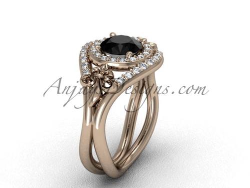 14kt rose gold diamond Fleur de Lis wedding ring, engagement ring, Black Diamond VD10025