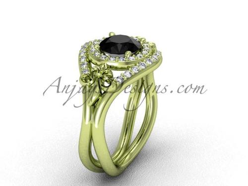 14kt yellow gold diamond Fleur de Lis wedding ring, engagement ring, Black Diamond VD10025