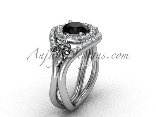 Platinum diamond Fleur de Lis wedding ring, engagement ring, Black Diamond VD10025