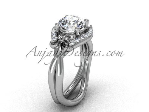 14kt white gold diamond Fleur de Lis wedding ring, engagement ring VD10026