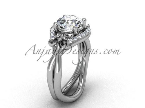 """14kt white gold diamond Fleur de Lis wedding ring, engagement ring, """"Forever One"""" Moissanite VD10026"""