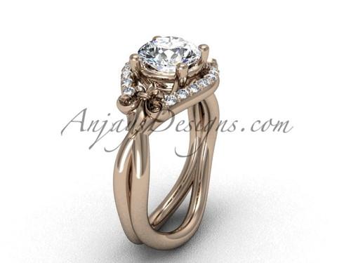 """14kt rose gold diamond Fleur de Lis wedding ring, engagement ring, """"Forever One"""" Moissanite VD10026"""