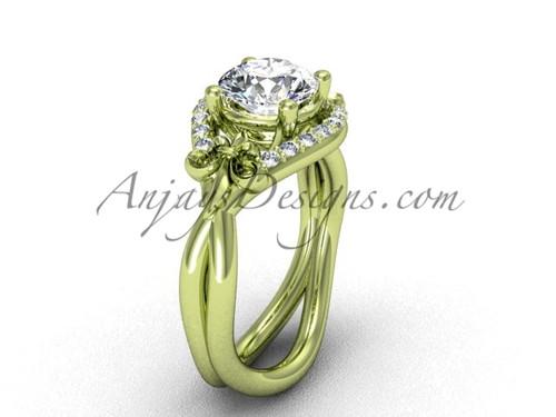 """14kt yellow gold diamond Fleur de Lis wedding ring, engagement ring, """"Forever One"""" Moissanite VD10026"""