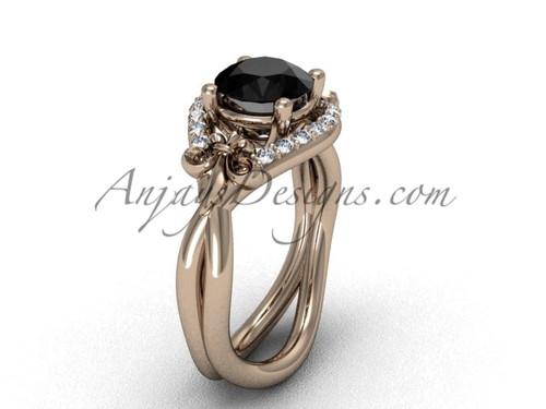 14kt rose gold diamond Fleur de Lis wedding ring, engagement ring, Black Diamond VD10026
