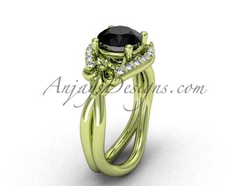 14kt yellow gold diamond Fleur de Lis wedding ring, engagement ring, Black Diamond VD10026