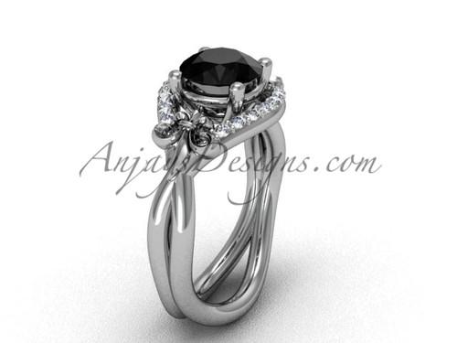 Platinum diamond Fleur de Lis wedding ring, engagement ring, Black Diamond VD10026