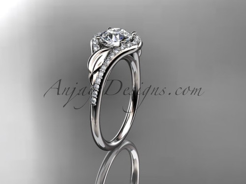 """14kt white gold diamond leaf wedding ring, engagement ring with a """"Forever One"""" Moissanite center stone ADLR334"""