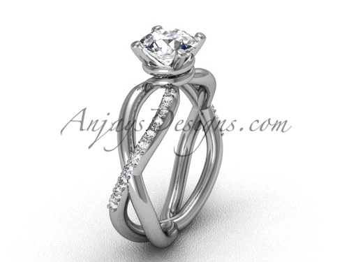 Antique White Gold Diamond Engagement Ring VD870