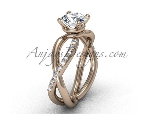 Moissanite Rose Gold Diamond Engagement Ring VD870