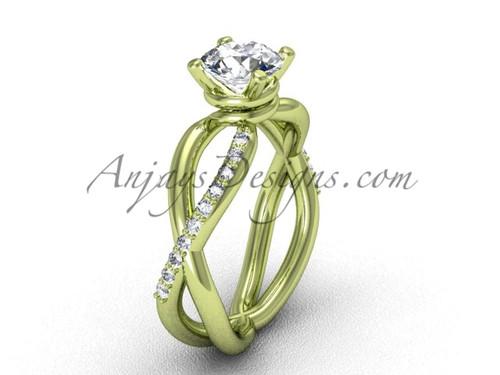 Moissanite Yellow Gold Diamond Engagement Ring VD870