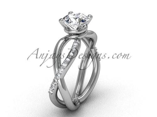 Moissanite Platinum Diamond Engagement Ring VD870