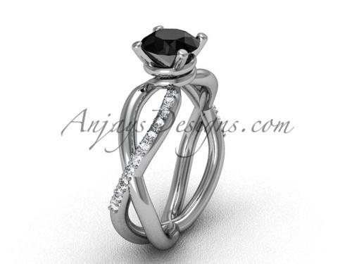 14kt White Gold Black Diamond Engagement Ring VD870