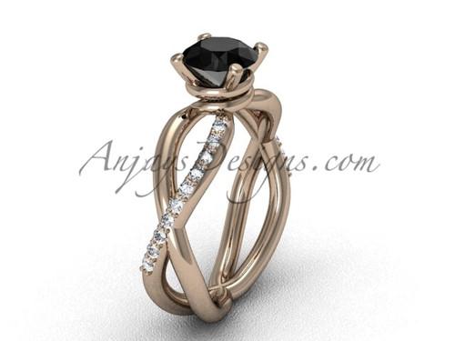 14kt Rose Gold Black Diamond Engagement Ring VD870